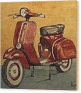 Red Vespa Wood Print