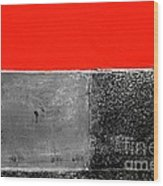 Red Wall In Black And White Wood Print