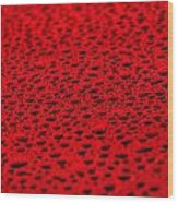 Red Water Drops On Water-repellent Surface Wood Print