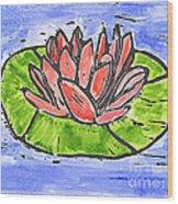 Red Waterlily Wood Print