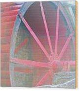 Red Wheel Wood Print by Lorena Mahoney