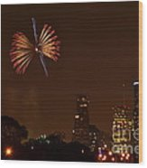 Red White And Blue Firework Wood Print