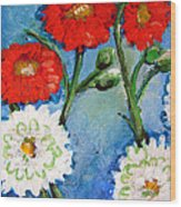 Red White And Blue Flowers Wood Print