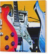Red White And Blue Guitars Wood Print by David Patterson