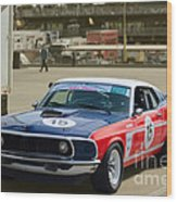 Red White And Blue Mustang Wood Print