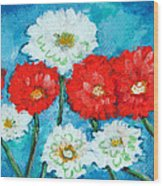 Red White And Blue Zinnia Flowers Wood Print