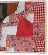 Red White And Gingham With Flowery Blocks Patchwork Quilt Wood Print