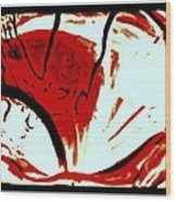 Red White Black Abstract Wood Print