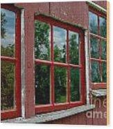 Red Windows Paned Wood Print