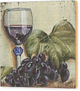Red Wine And Grape Leaf Wood Print