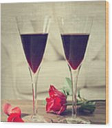 Red Wine And Roses Wood Print