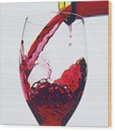 Red Wine Being Poured  Wood Print