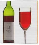 Red Wine Bottle And Glass Wood Print