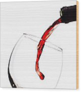 Red Wine Poured Into Wineglass Wood Print by Dustin K Ryan