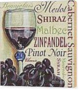 Red Wine Text Wood Print by Debbie DeWitt