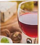 Red Wine With Cheese Wood Print by Amanda Elwell