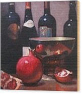 Red Wine With Pomegranates Wood Print
