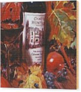 Red Wine With Red Pomergranates Wood Print