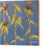 Red Wing Blackbirds In The Corn Wood Print