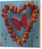 Red Wing Butterfly In Heart Wood Print by Garry Gay