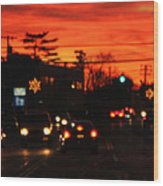 Red Winter Sunset Over Long Island Suburbs Wood Print