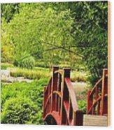 Red Wooden Bridge Wood Print