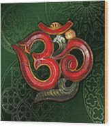 Red Wooden Om Green Mandala Wood Print