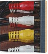Red Yellow And White Cables Wood Print