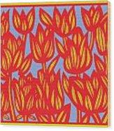 Red Yellow Blue Art Print Botanical Drawing Flowers Line Drawing Flower Botanical Print Art Botan Wood Print