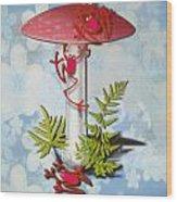 Redfrog And The Magic Mushroom Wood Print