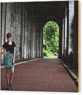 Redhead On Bricks Wood Print