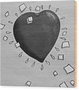 Redheart In Black And White2 Wood Print