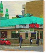 Rediscover Your Greenspot Notre Dame St Henri Dogs Et Frites Urban Food City Scenes Carole Spandau  Wood Print