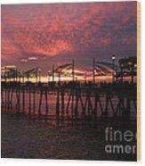 Redondo Beach Pier At Sunset Wood Print