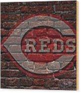 Reds Baseball Graffiti On Brick  Wood Print