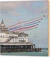 Reds Over Eastbourne Pier Wood Print