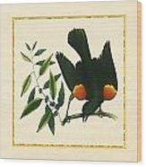 Redwing Blackbird Square Wood Print