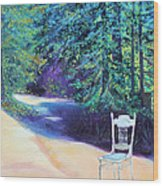 Redwood Path And White Chair Wood Print