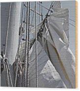 Reefing The Mainsail Wood Print