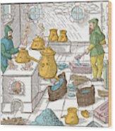 Refining Sulphur, 16th Century Wood Print