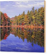 Reflected Autumn Lake Wood Print