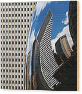 Reflected City Wood Print