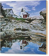 Reflected Lighthouse At Pemaquid Point Wood Print