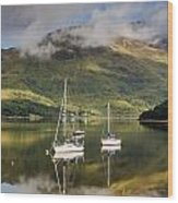 Reflected Yachts In Loch Leven Wood Print