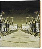 Reflected Yellow Huts  Wood Print