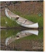 Reflecting Canoe Wood Print