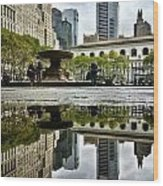 Reflecting In Bryant Park Wood Print