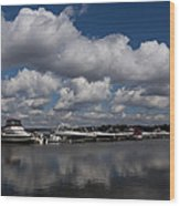 Reflecting On Boats And Clouds - Port Perry Marina Wood Print