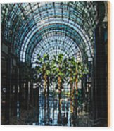 Reflecting On Palm Trees And Arches Wood Print by Georgia Mizuleva