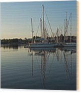 Reflecting On Yachts - Hot Summer Afternoon Mirror Wood Print